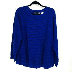 Karen Scott Blue Curved Hem Knit Sweater